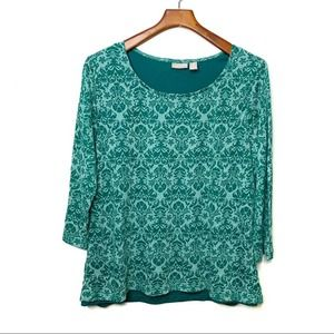 Chico's Damask Scoop Neck Knit Top Green 3